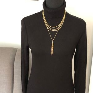 WHBM Turtleneck with gold button detail